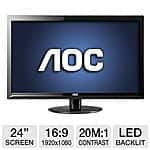 "AOC 24"" LED Monitor, 5ms DVI/VGA - $109.99 (no rebates) @ Tigerdirect"