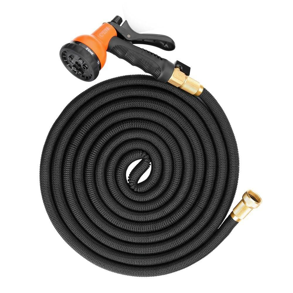 "50ft Expandable Garden Hose, Cozzine Expandable Water Hose with 8 Function Spray Nozzle, 3/4"" Solid Brass Fittings, Extra Strength Fabric $15.5"