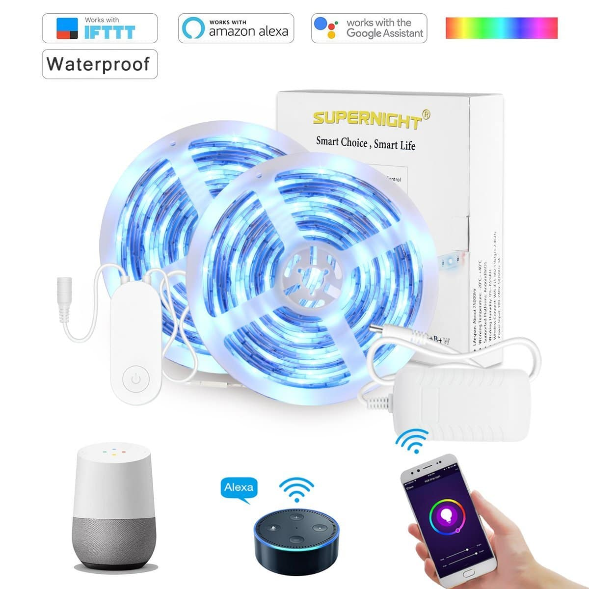 SUPERNIGHT 32.8Ft RGBW Smart LED Strip Lights Waterproof - with Heat-Conducting Adhesive, Wireless Smart Phone Controlled 560 Leds $21.5