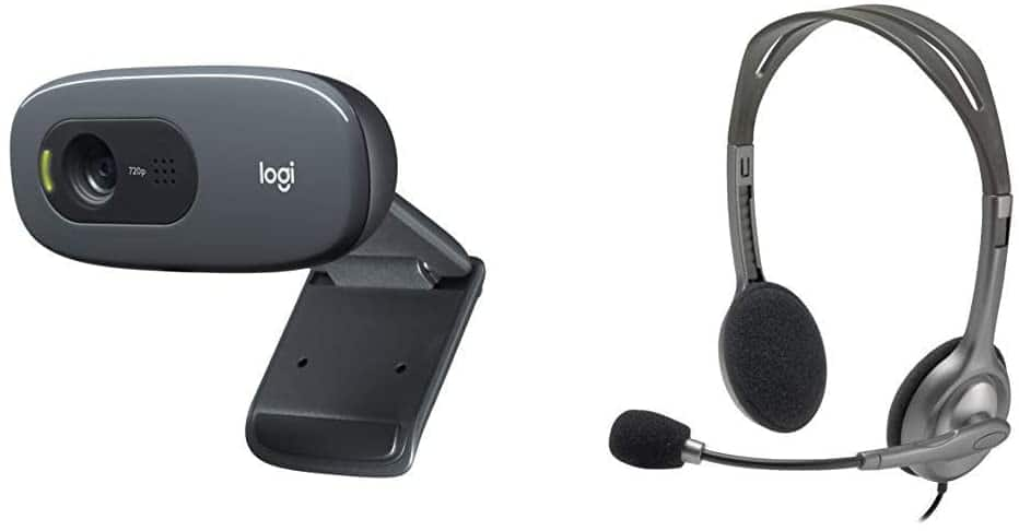 Logitech C270 webcam with Logitech Stereo Headset H111 $26.48