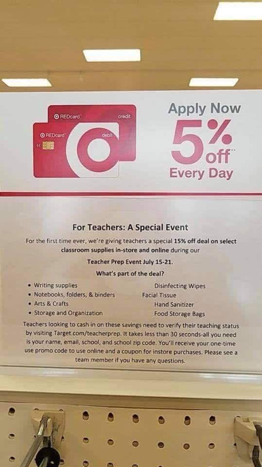 Target - Teacher Prep Event - 15% off select supplies (July 15th-21st)