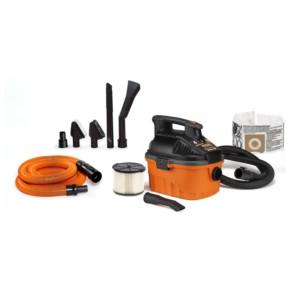4 Gal. 5.0 Peak HP Portable Wet Dry Shop Home Depot Ridgid Vacuum with Premium Auto Detailing Kit $59.88