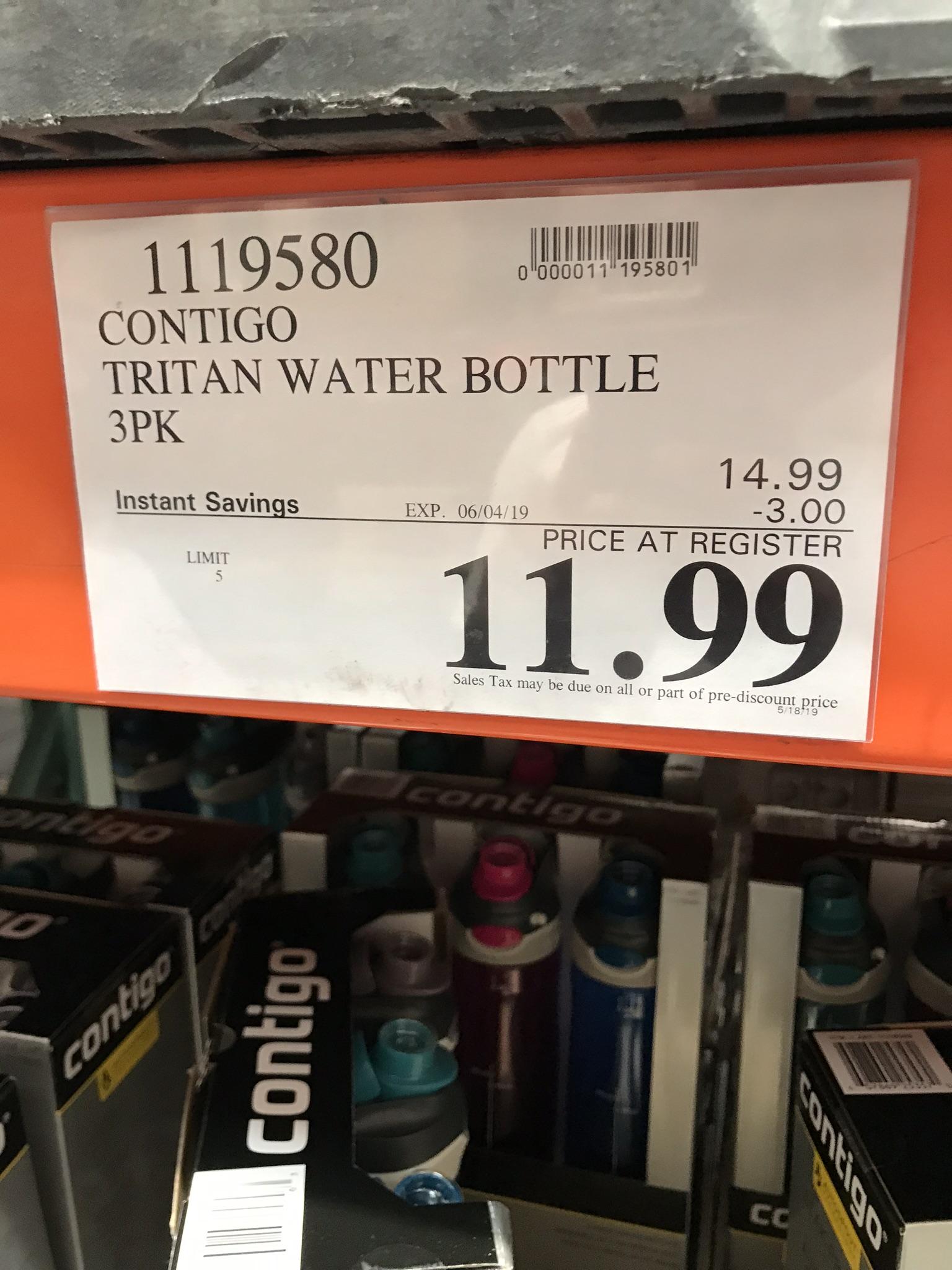 Contigo Tritan Water Bottle 3PK @Costco B&M YMMV $11.99
