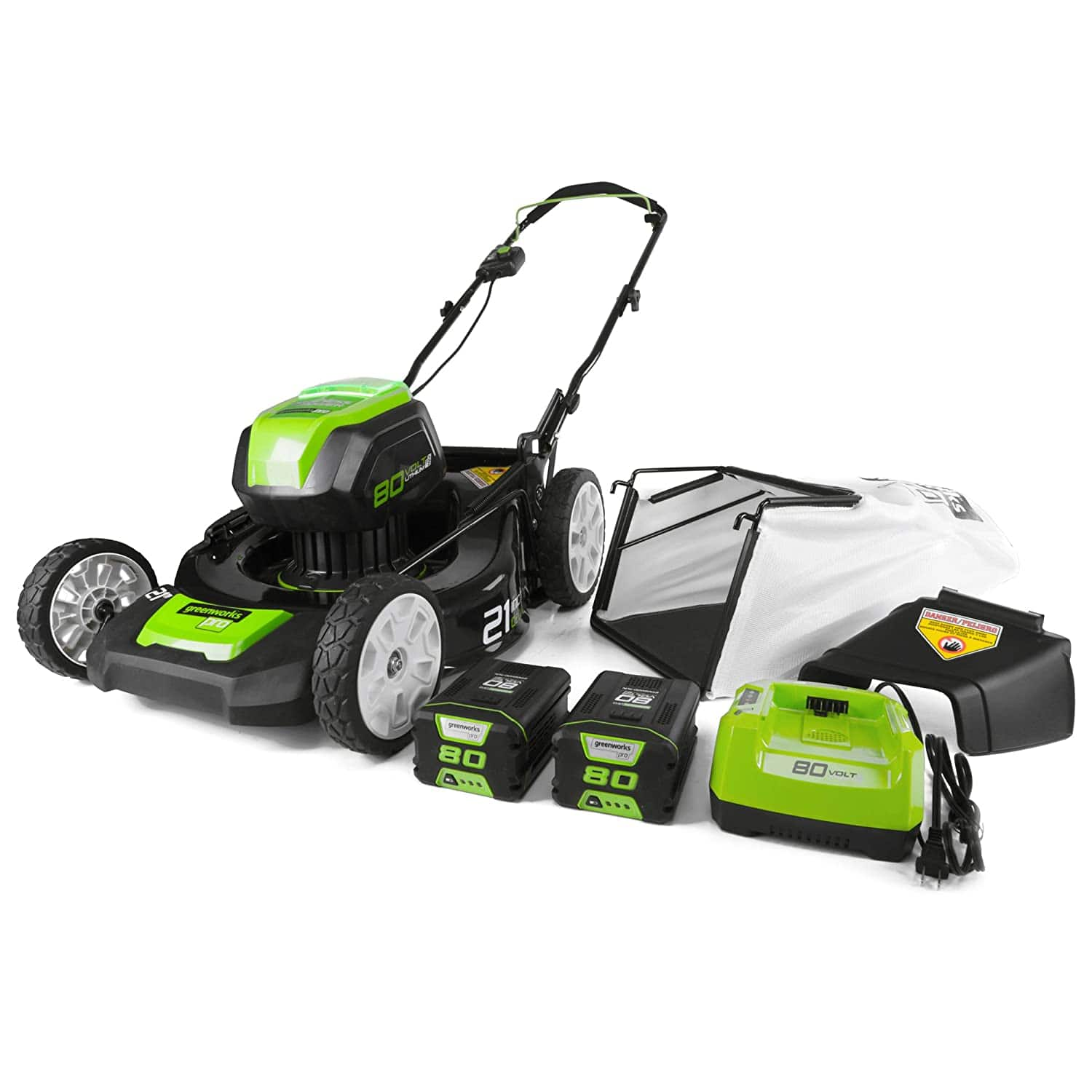 Greenworks GLM801601 21-Inch 80V Cordless Push Lawn Mower, includes two 2Ah Batteries and Charger - $379
