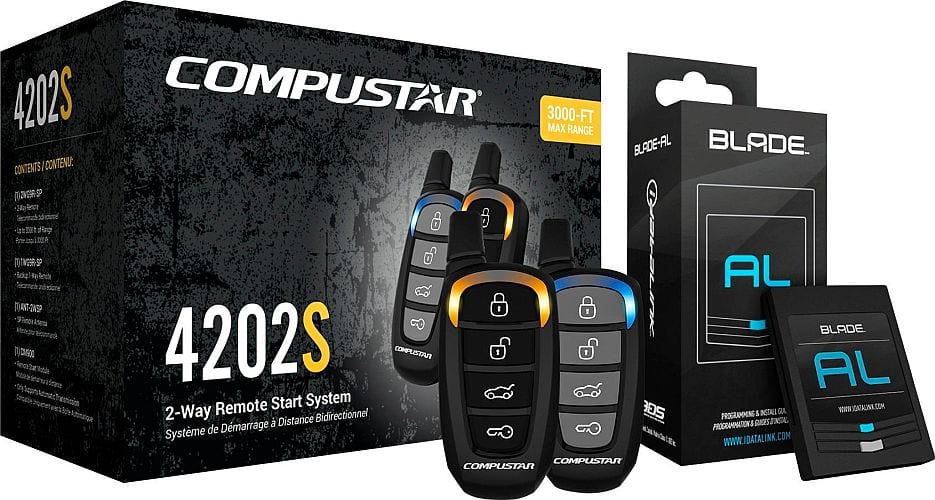 Compustar CS4202 Two-Way Remote Starter Kit + Ball Bearing Tilt Switch + Installation - $250 ; DroneMobile Add-On + Installation - $150 @ Best Buy