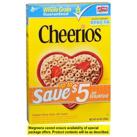 General Mills Cereals (e.g. Cheerios) 2 for $3 Via Store pickup at Walgreens ($1.50 each) AC