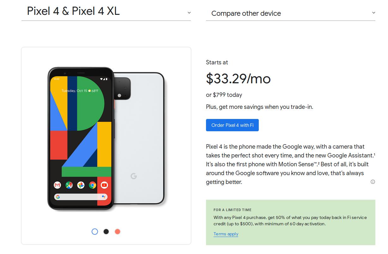 Google Pixel 4 and Pixel 4 XL smartphones 50% back in service credit $350