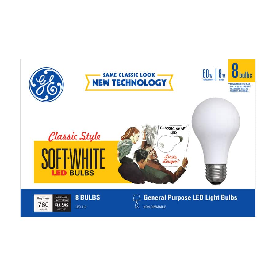 GE 8-Pack 60 W Equivalent Soft White A19 LED Light Fixture Light Bulbs $5