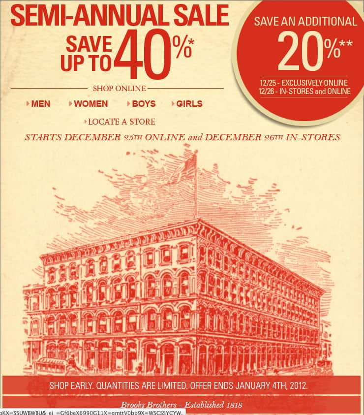 Additional 20% off at Brooks Brothers Christmas Day & 12/26 (Stack with Semi-Annual Sale) (Dress Shirts for $42)