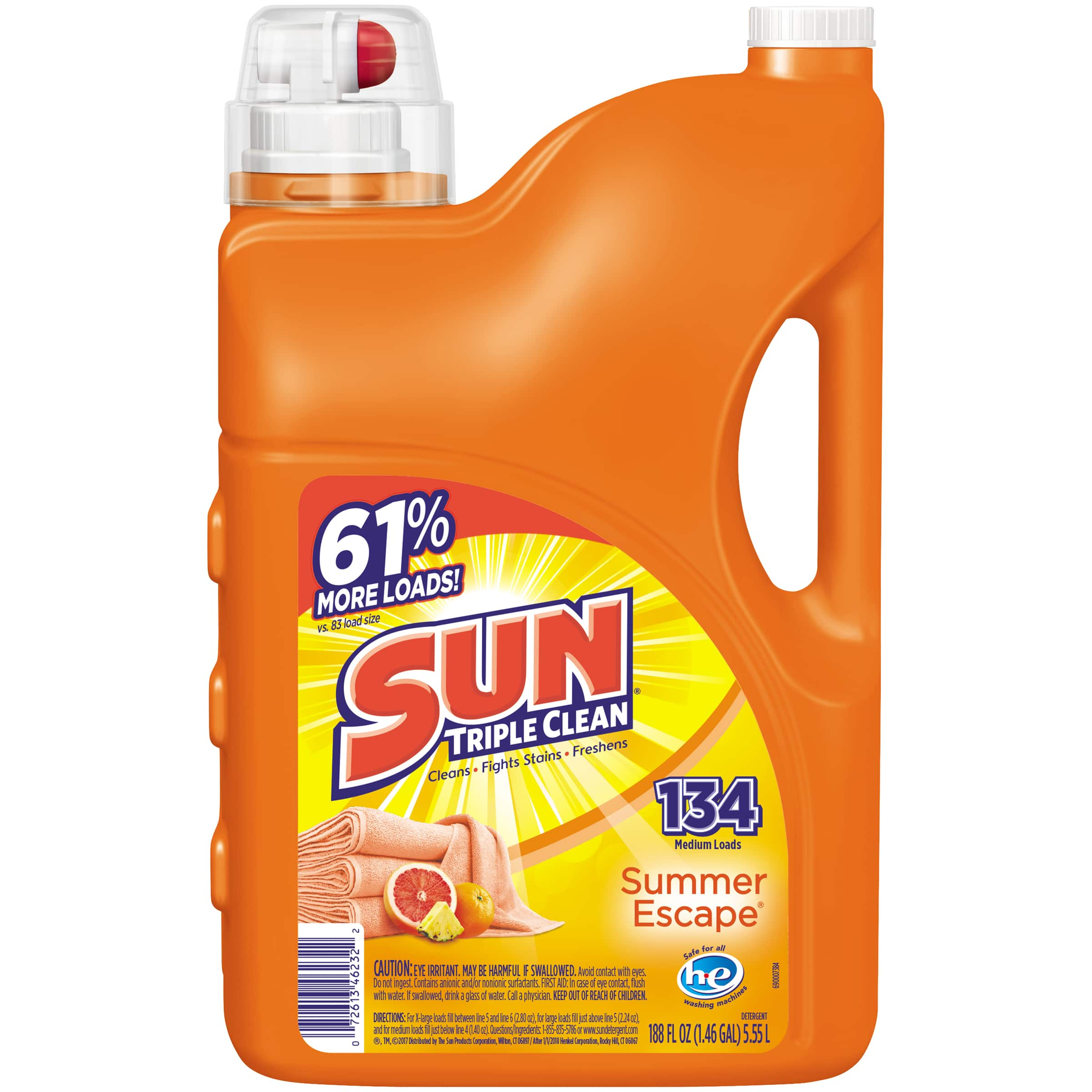 Sun Liquid Laundry Detergent Summer Escape, 188 Ounce, 134 loads, $2.96 at Walmart