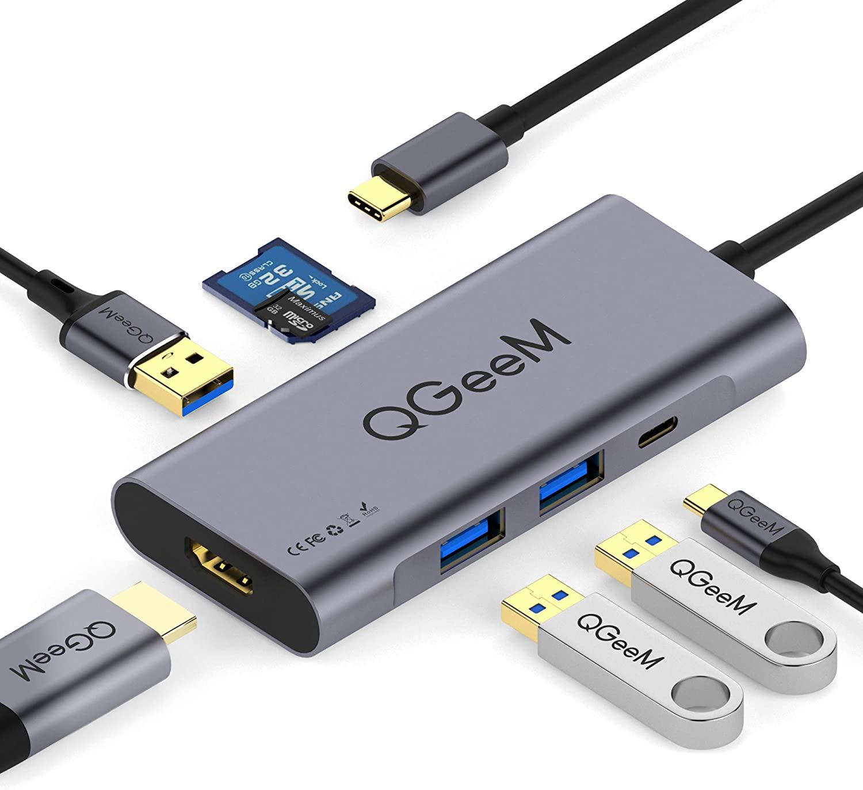 QGeeM 7 in 1 USB Type C Hub HDMI 4k Adapter,3 USB 3.0 Ports,SD/TF Card Readers,2018 Mac Air,Chromebook USB C @ $18 + F/S