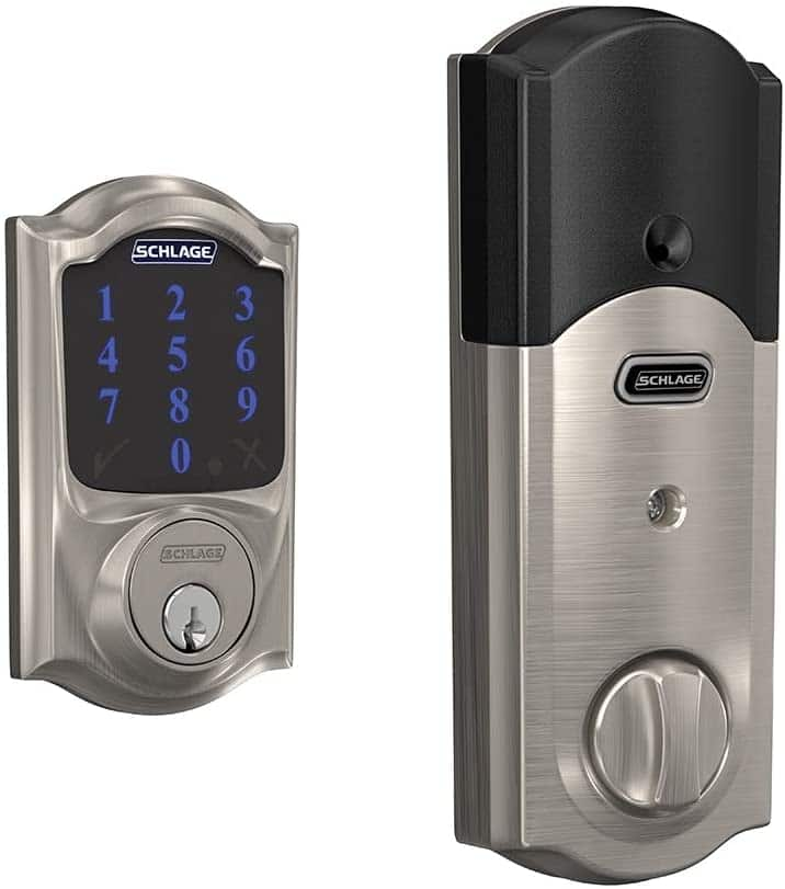 Schlage Connect Smart Deadbolt with alarm with Camelot Trim in Satin Nickel, Z-Wave Plus enabled $154.25