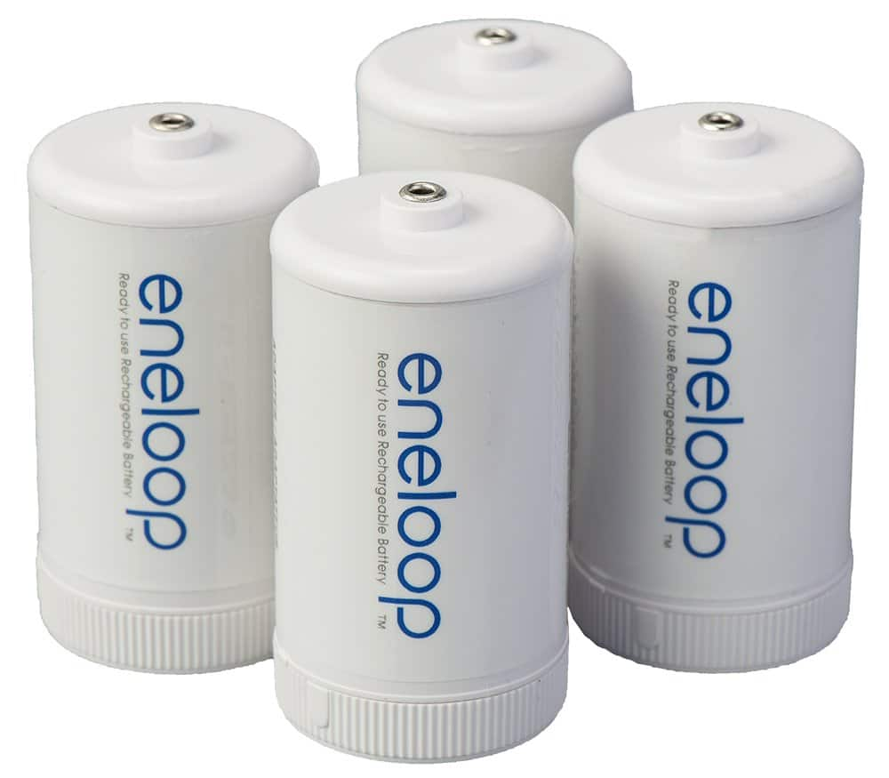 Panasonic BQ-BS1E4SA eneloop D Size Battery Adapters for Use with Ni-MH Rechargeable AA Battery Cells, 4 Pack [Single, 4-Pack / D Spacer] $7.97