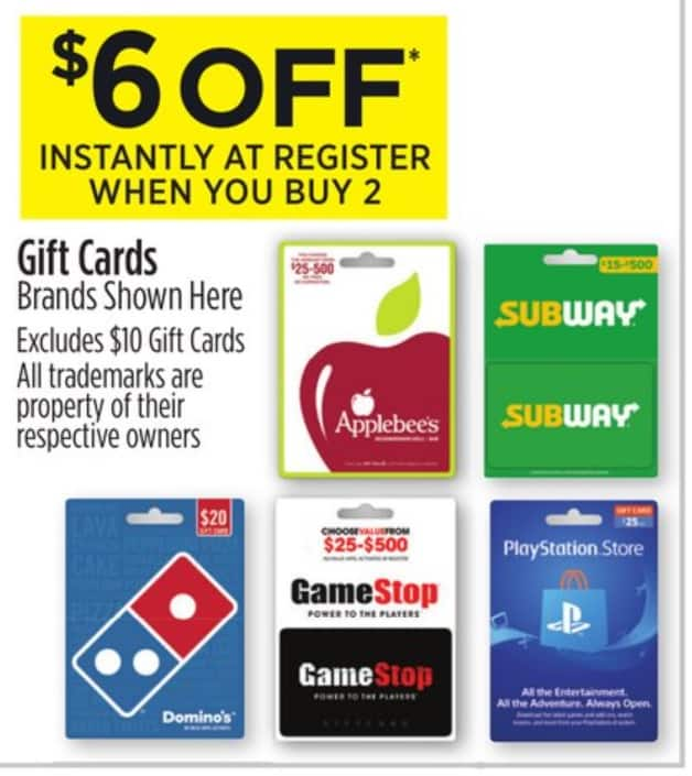 $30 in Subway Gift Cards for $24(20% off), Dollar General B&M