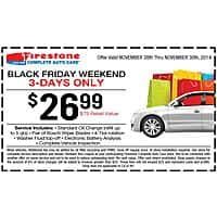 Firestone Auto Care Deal: Firestone Black Friday Offer $26.99 for oil change, two bosch wipers, tire rotation, and inspection service.