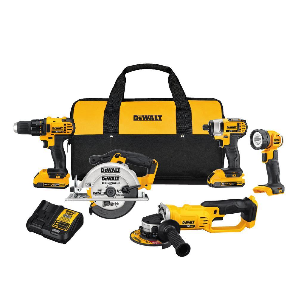 DEWALT 20-Volt Max 5-Tool Combo Kit w/ (2) Batteries 2Ah, Charger & Tool Bag $299 @ Lowe's