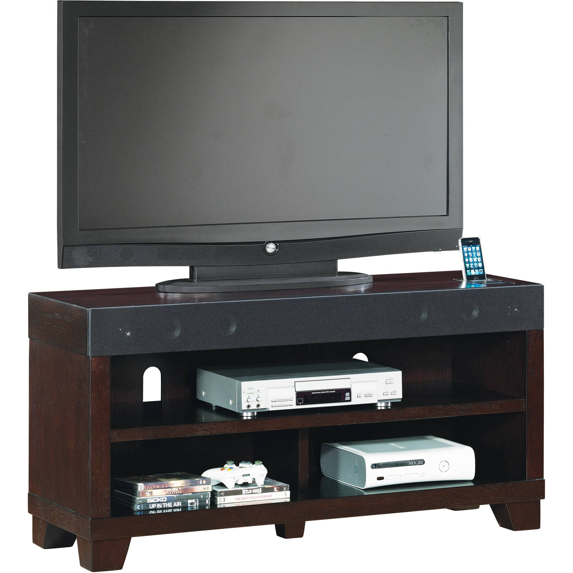 Gotham Tv Stand For Tvs Up To 70 Silver Black With Built In