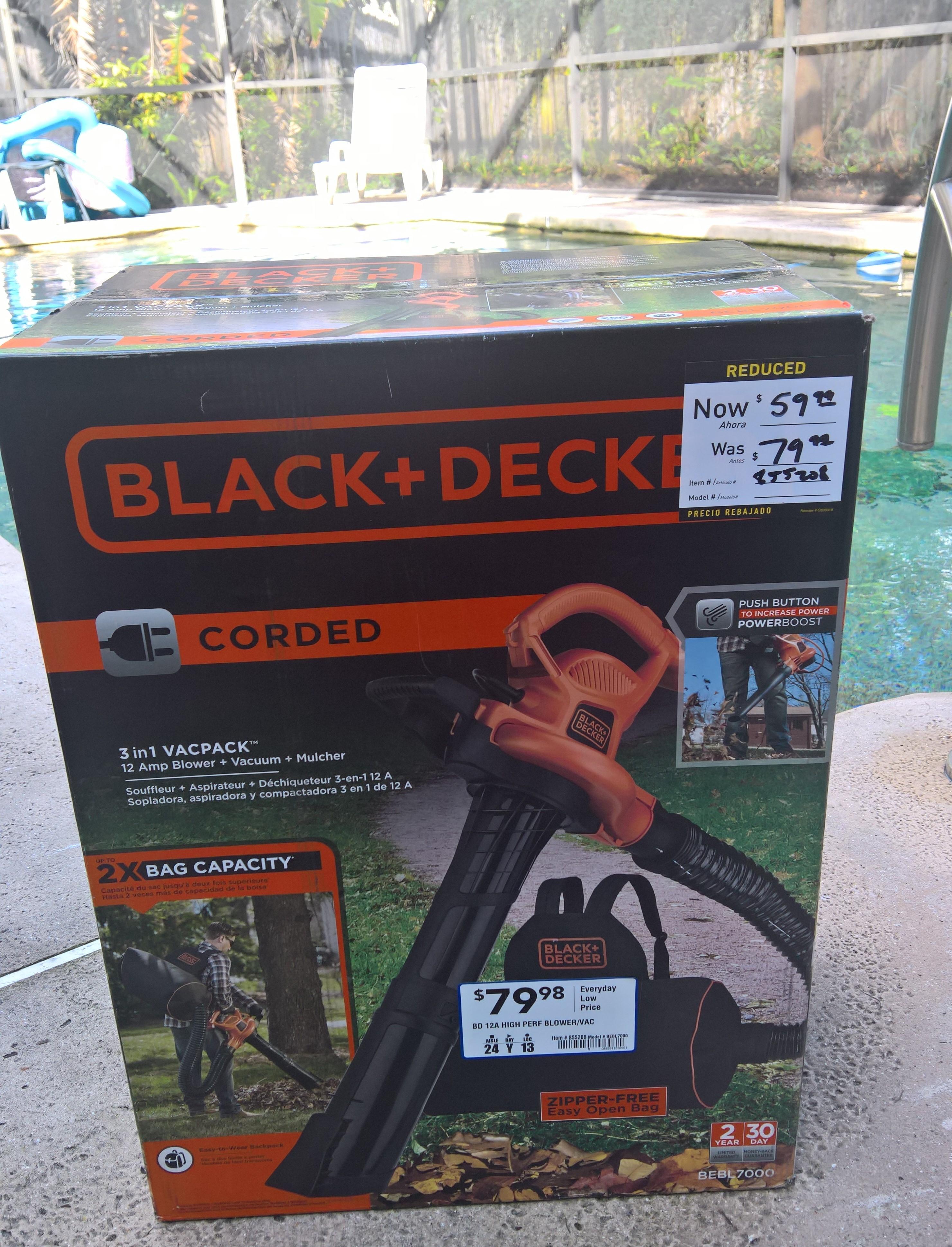 Black+Decker Corded 12A Leaf Blower/Vacuum Lowe's In-Store  (YMMV) $59