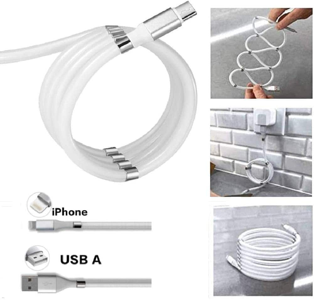 LBC Lightning Cable / Type C Cord with Magnetic Data Cable Organizers, Magnetic Absorption Data Charger Cable 3ft/6ft White/Black $11.99
