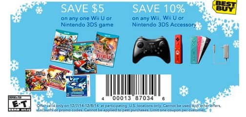 $5 off any 3DS or wii U game and 10% off Nintendo accessories at bestbuy, can stack with GCU 12/7-12/8 only also $50 off 3ds XL