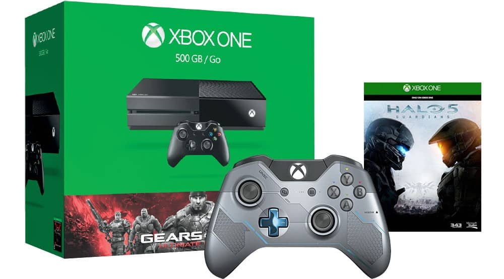 500GB Gears of War Xbox One Bundle + any Game(59.99 value), +$50 giftcard, + LE Halo 5 controller: $379.98
