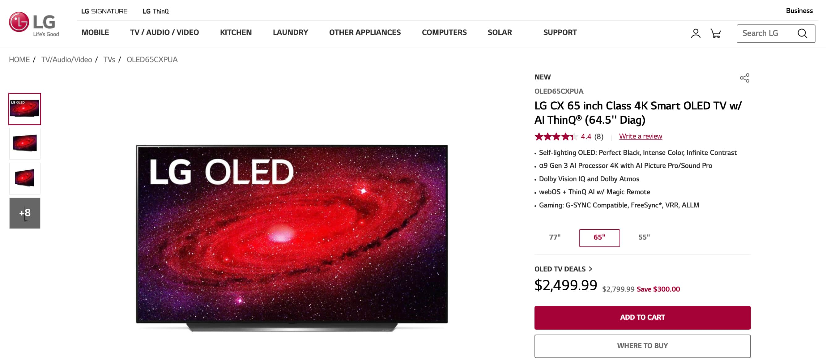 YMMV: LG CX 65 (OLED65CXPUA) $2400 with tax+shipping, $270 discount from $2,496.99 (Originally $2,799.99 MSRP)