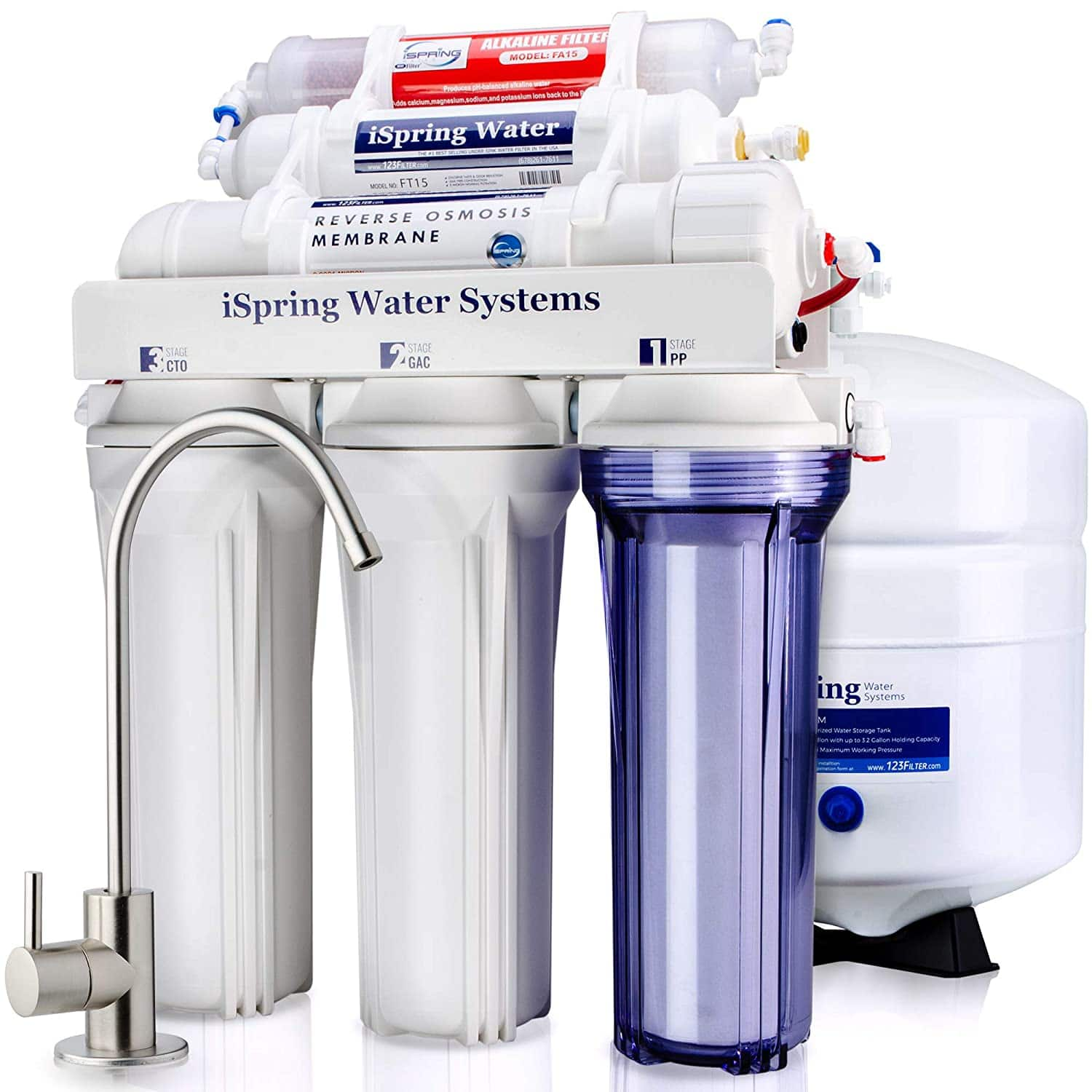 iSpring RCC7AK 6-Stage Superb Taste High Capacity Under Under Sink Reverse Osmosis Drinking Water Filter System with Alkaline Remineralization - Natural pH, White $164.35