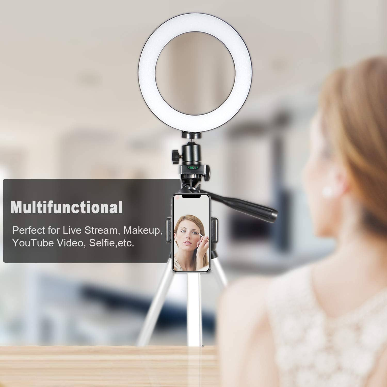 GLCON Selfie Ring Light with Tripod Stand for Live Stream-LED Ring Light, $27