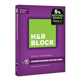 H&R Block Tax Software Deluxe + State 2017 with 5% Refund Bonus Offer [PC Download]  $19.99 on Amazon