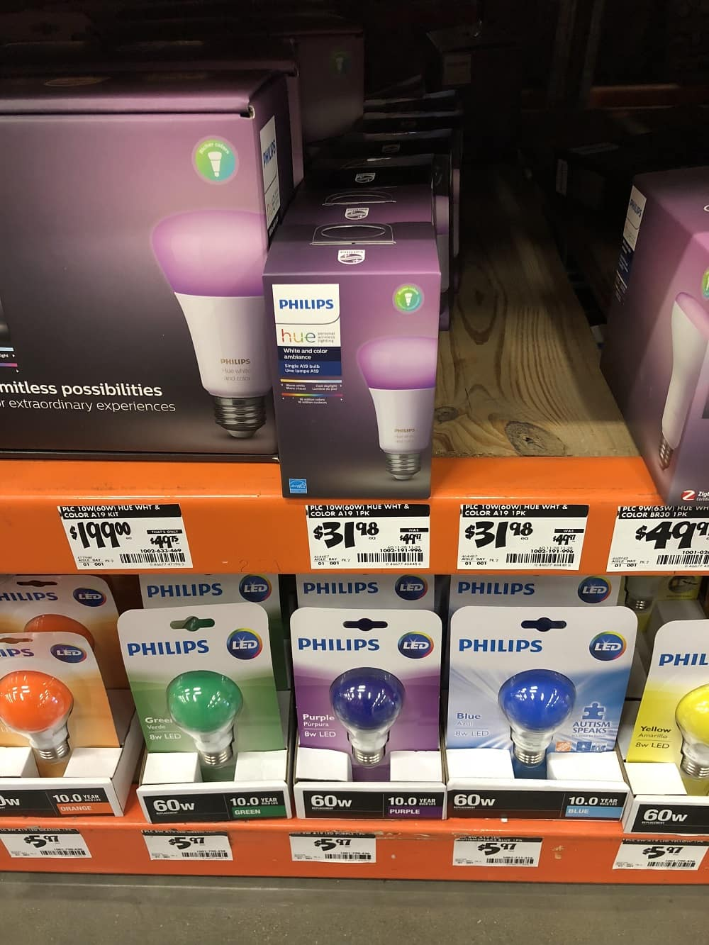Philips Hue White and Color A19 60W LED Equivalent Dimmable Smart Bulb from Home Depot YMMV $31.98