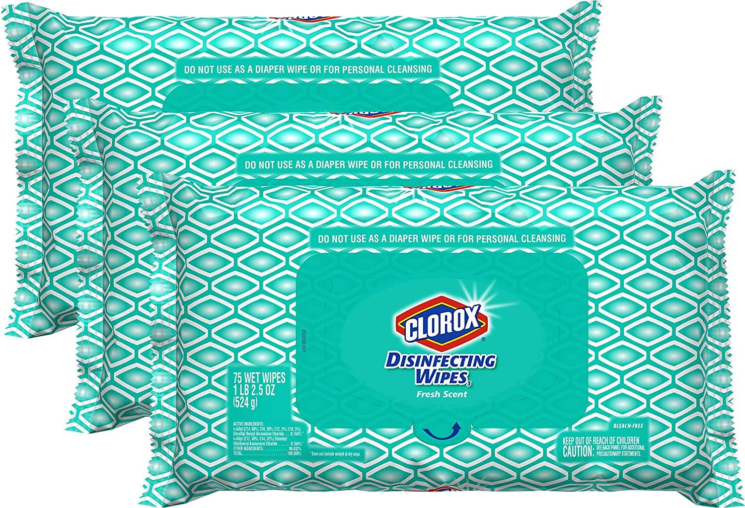 Amazon.com: Clorox Disinfecting Bleach Free Cleaning Wipes, 75 Wipes, Pack of 3 $14.99 ($0.07 / count)