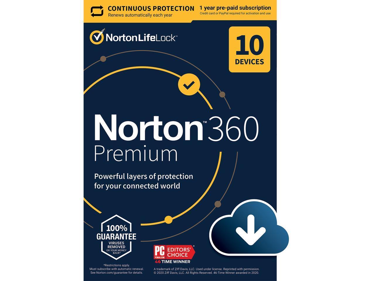 Norton 360 Premium 2021 Antivirus Software: 1-Year / 10 Devices (Digital Download) $25 at Newegg
