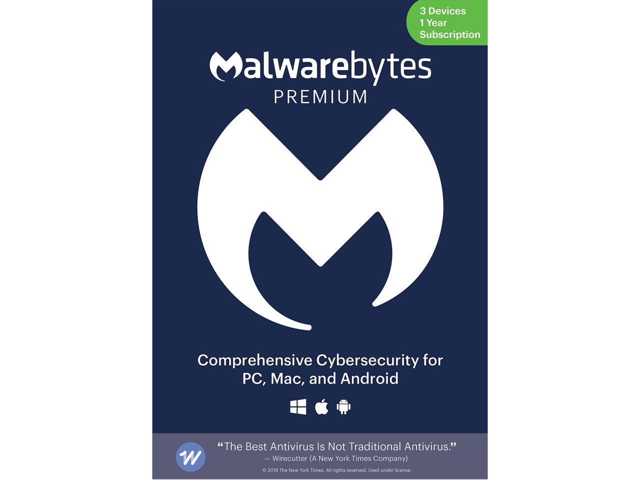 Malwarebytes Anti-Malware Premium 4.0 (3 Device/1-Year) DL | Key Card@Newegg $20