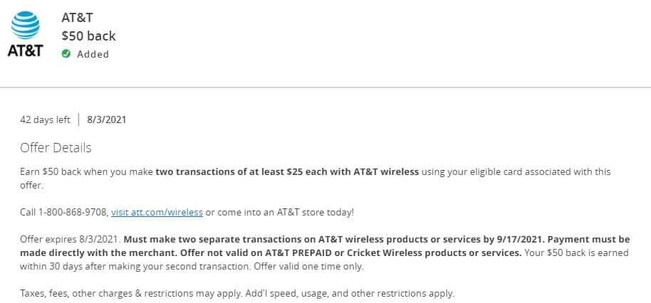 Chase Offers: AT&T Wireless $50 Cash back on (2) 25+ Purchases
