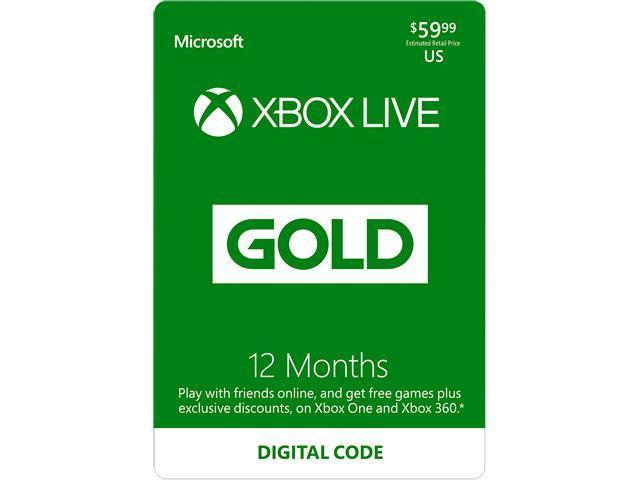 Xbox Gold Live: 12 Month Membership US (Digital Code) @Newegg $50
