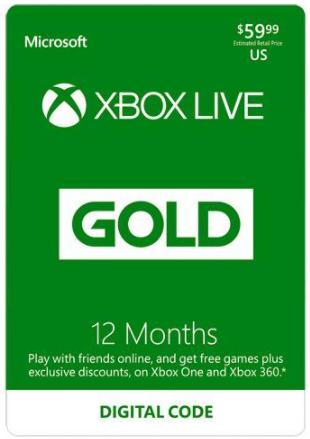 Xbox Gold Live: 12 Month Membership US (Digital Code) $50 at Newegg
