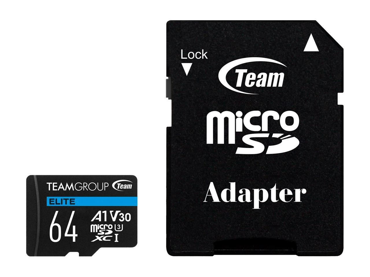 64GB Team Elite U3 A1 V30 microSD XC Memory Card @Newegg $7