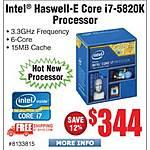 Intel Haswell-E i7-5820k LGA2011 Retail Processor $344 @Frys