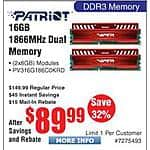 Patriot Viper 16GB (2x 8) DDR31866 SDRAM Kit $90AR@Frys