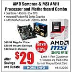 MSI AM1L AM1 mATX Motherboard + Sempron Processor  bundle $29AR @Frys