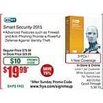 ESET Smart Security 2015 3PC $20 (w/emailed code) @Frys