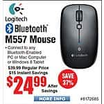 Logitech M557 Bluetooth Mouse $25 @frys