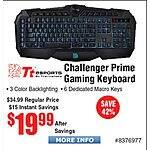 Tt eSPORTS Challenger Prime Backlit Gaming Keyboard $20 @Frys