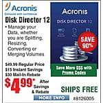 Acronis Disk Director 12 $5AR @Frys  FAR (w/emailed code)