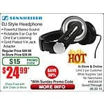 SENNHEISER HD205 II - Over Ear DJ-Style Headphones $25 @Frys (w/emailed code)