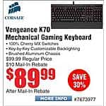 Corsair Vengeance K70 Black Cherry MX Red Mechanical Keyboard $90AR @Frys