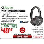 Razer Adaro BT Wireless Bluetooth 4.0 Headphones $50@Frys (w/emailed code)