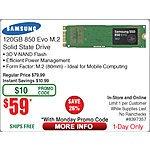 120GB Samsung 850 EVO M.2 Solid State Drive SSD $59   @Frys w/emailed code SENNHEISER HD205 II - DJ-Style Headphones $25