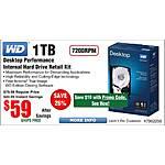 1TB WD Black Desktop Hard Drive $59 ($49 w/emailed code) @Frys
