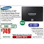 Samsung 850 EVO 2TB 2.5-Inch SATA III Internal SSD (MZ-75E2T0B/AM)  $749@Frys (w/emailed code)